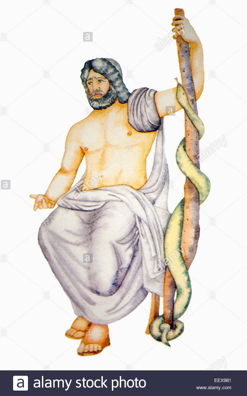 asclepius greek god of medicine son of zeus stock photo royalty