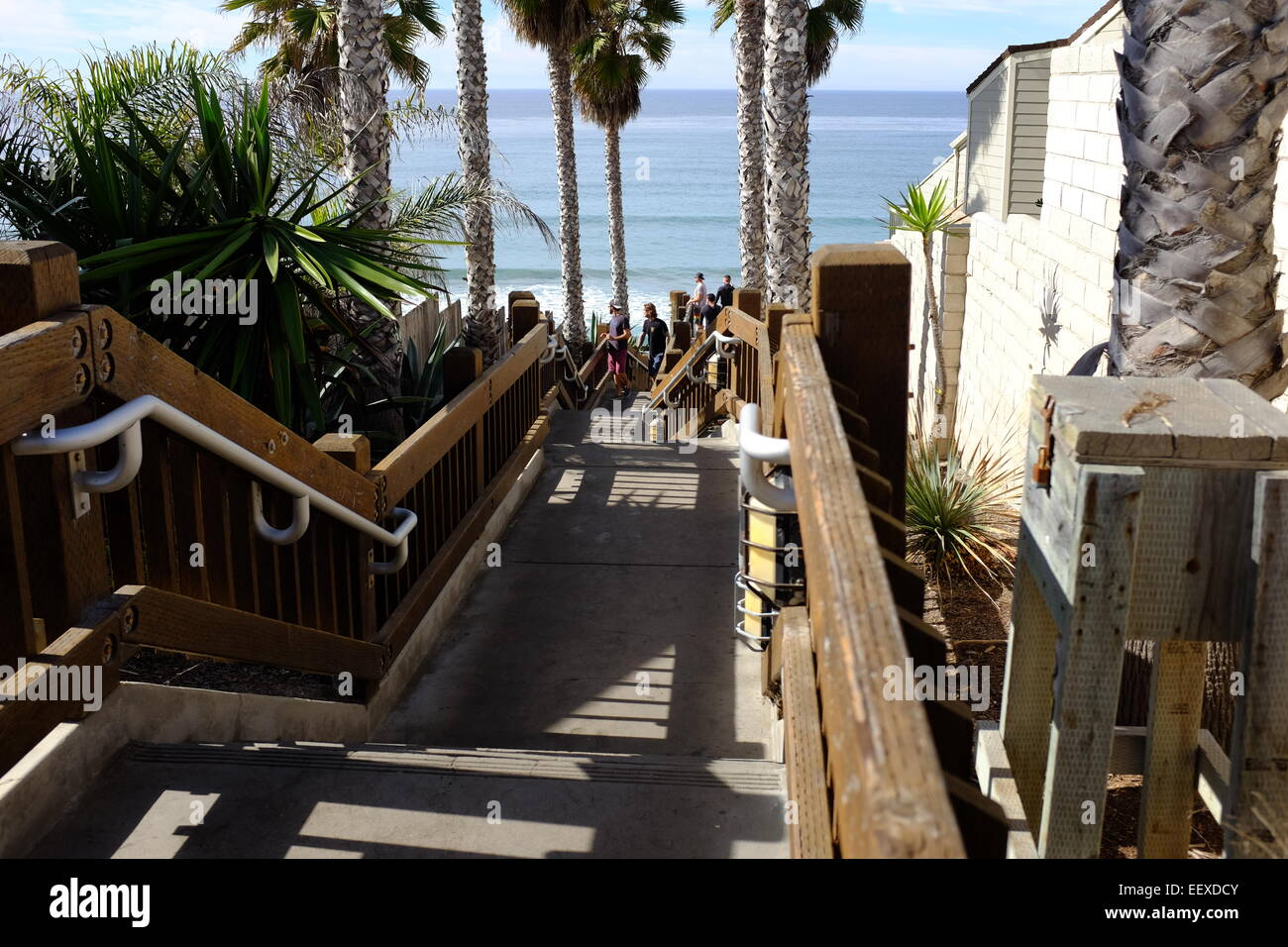 The Stairs And Surfing At The Grandview Beach Access In Encinitas, CA