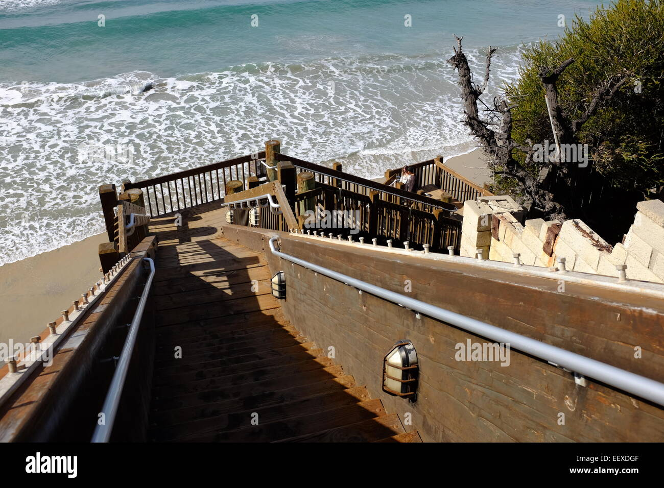 Stairs And Surfing At The Grandview Beach Access In Encinitas, CA