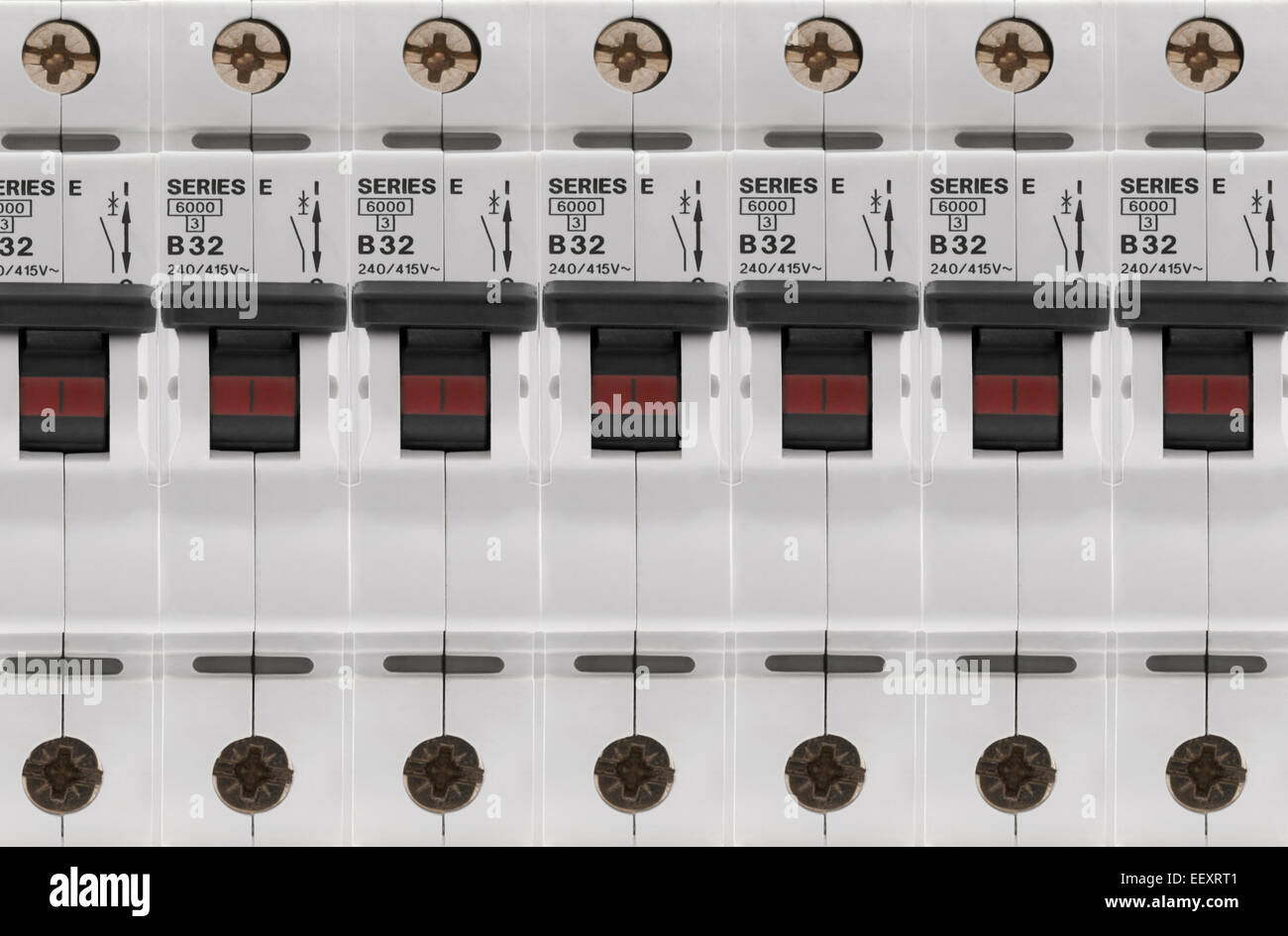 Fuse Box Or Circuit Breaker Panel : Electrical circuit breaker fuse box switches stock photo