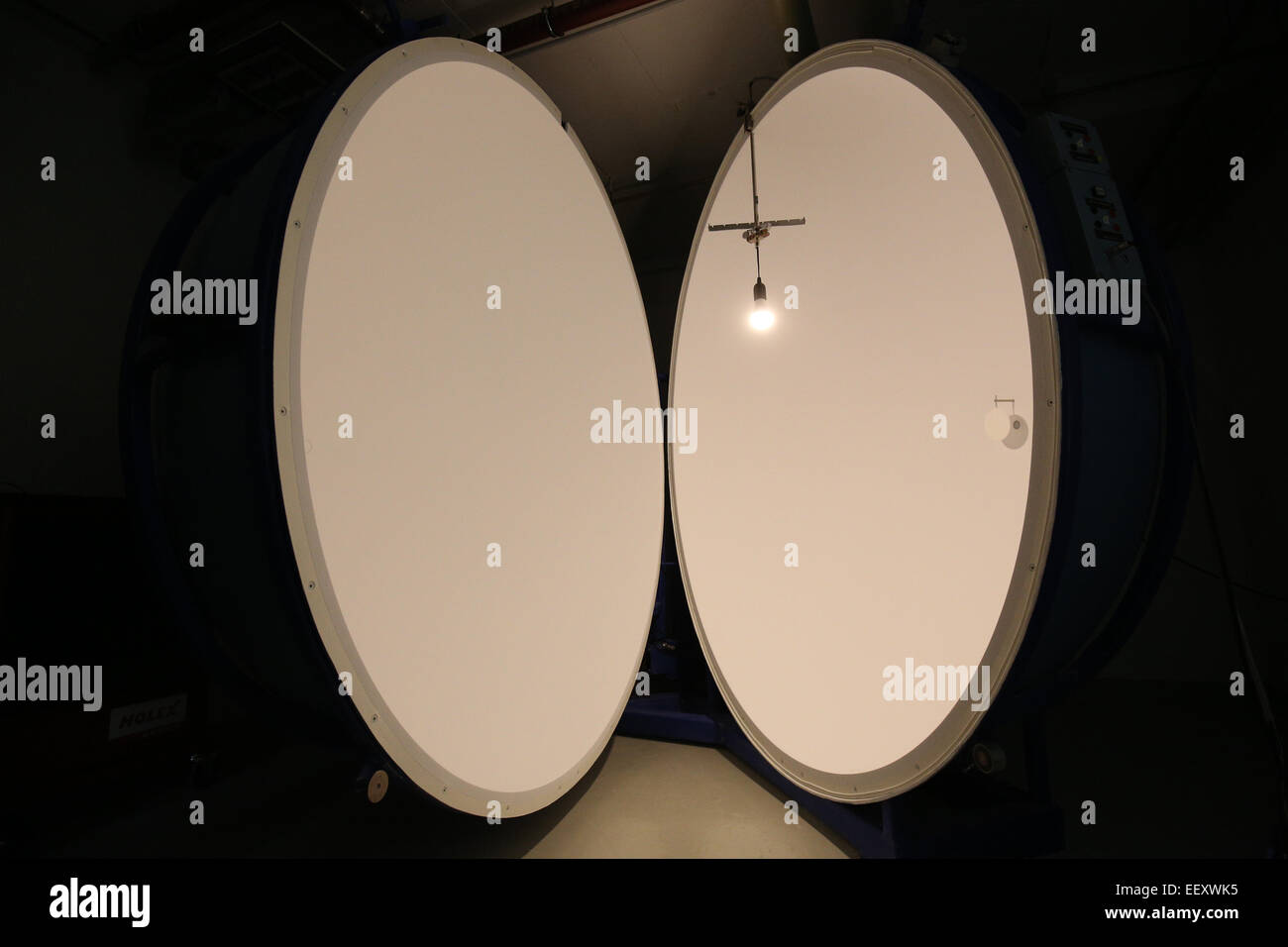 A commercial led lighting fixture is lit in a so called ulbricht a commercial led lighting fixture is lit in a so called ulbricht sphere that mesures radiant power and luminous flux at the hamburg traffic facilities mozeypictures Choice Image