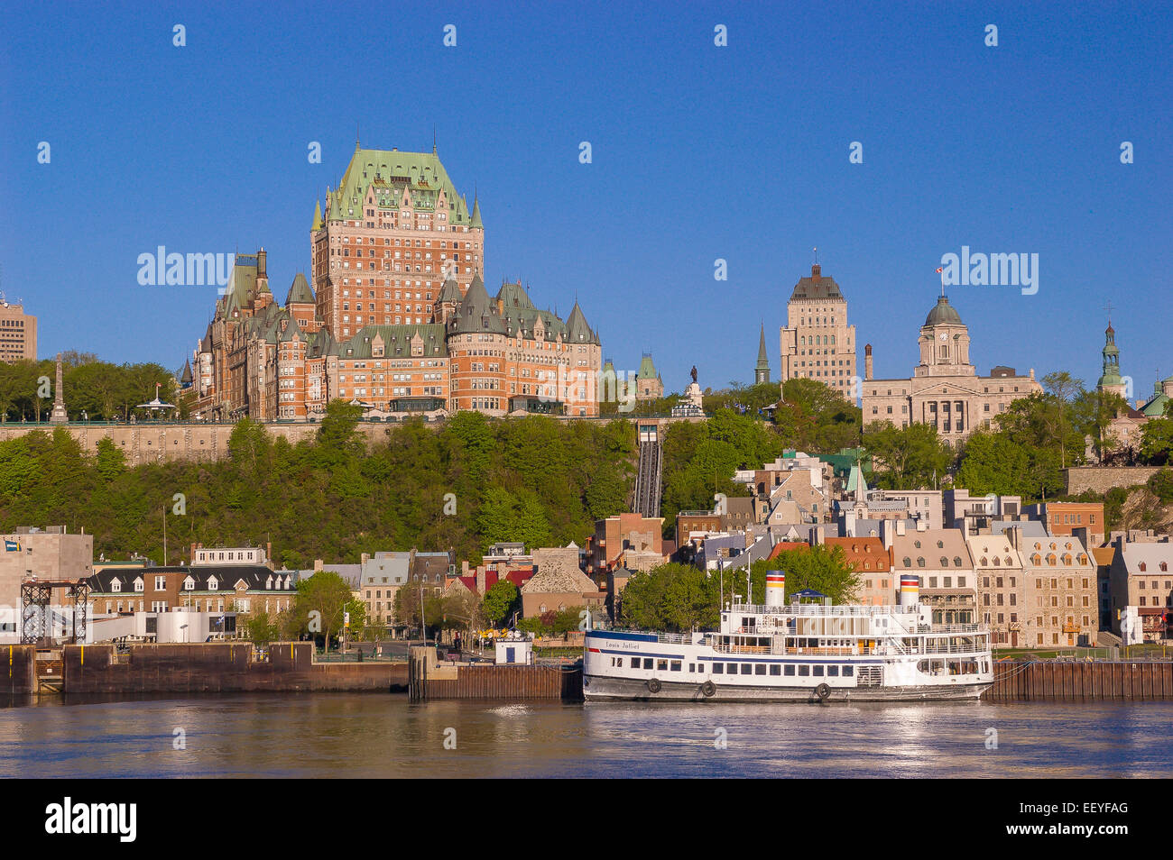 Quebec City Quebec Canada Le Chateau Frontenac Castle And Hotel Stock Photo Royalty Free