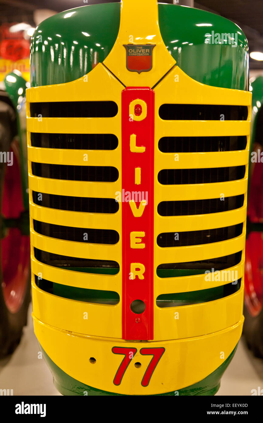 Front grill of an antique Oliver tractor Stock Photo ...