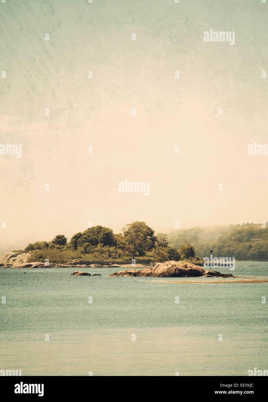 A small island along the Massachusetts North Shore Stock ...