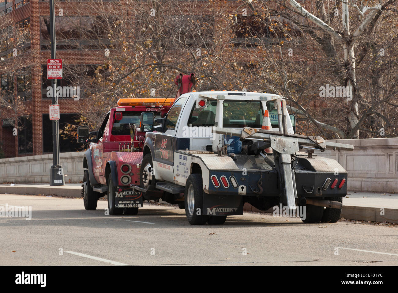 Tow truck being towed usa stock image