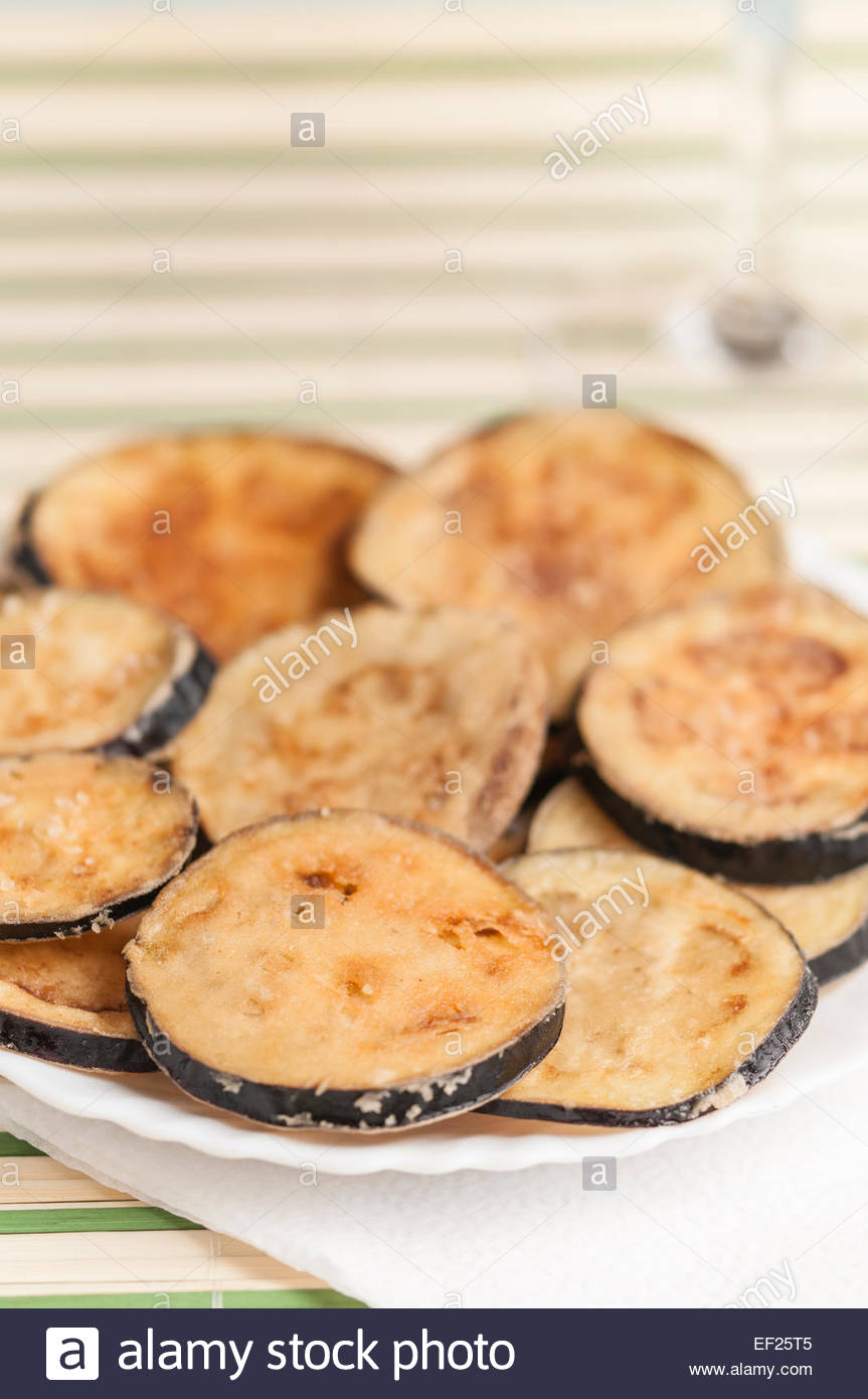 breaded and fried eggplant slices Stock Photo, Royalty ...