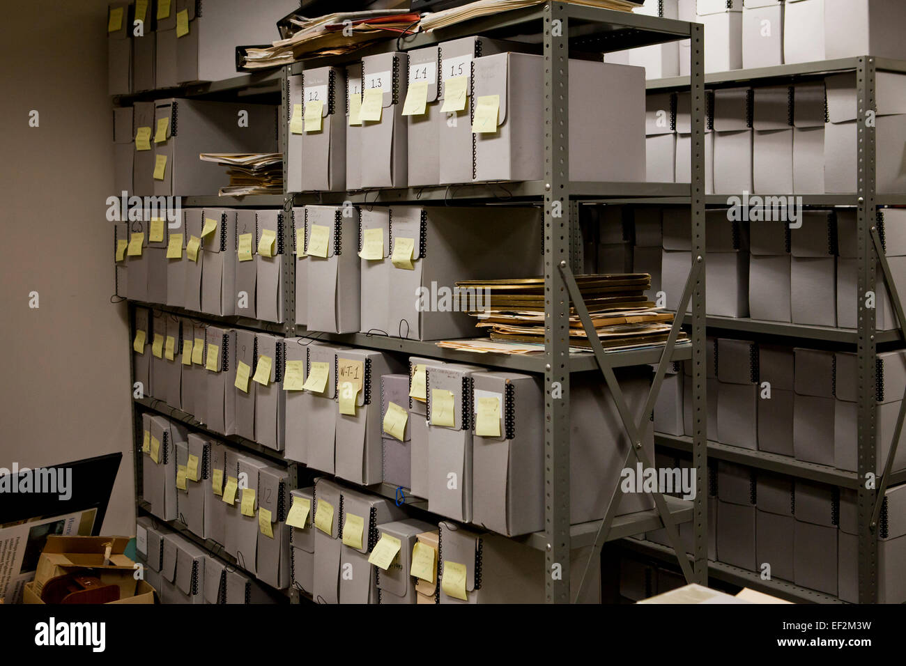 File storage containers stacked in office file room - USA Stock ...