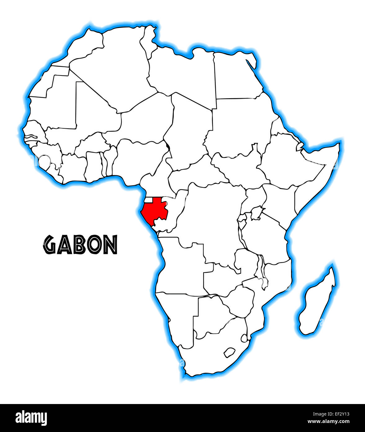 Gabon Outline Inset Into A Map Of Africa Over A White Background - Gabon blank map