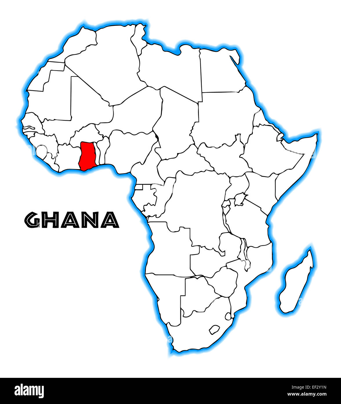 africa map with ghana