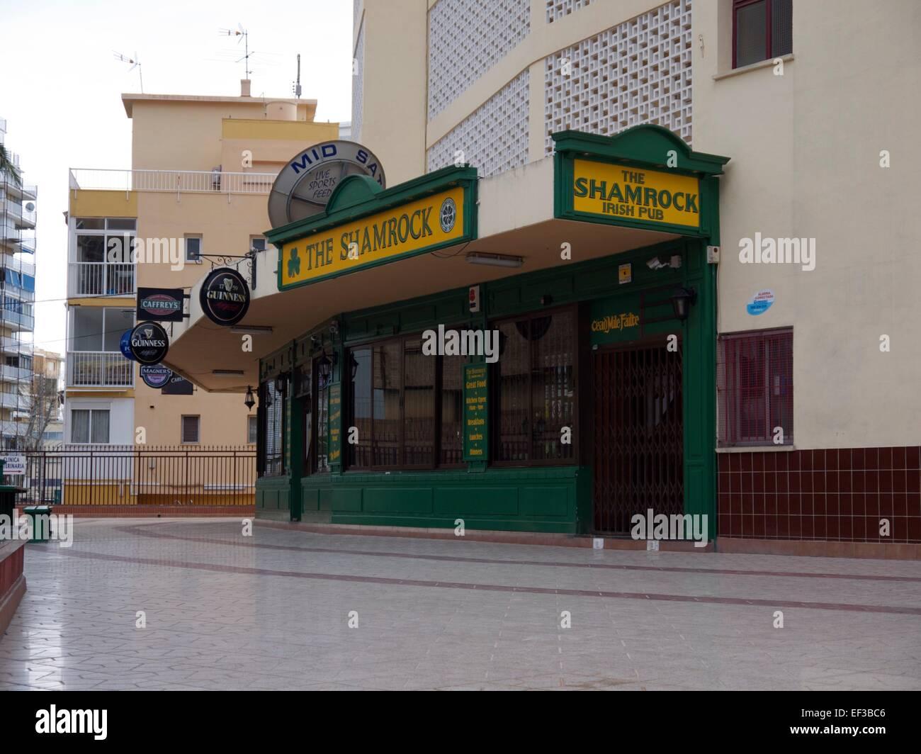 the shamrock irish pub in benidorm spain stock photo royalty