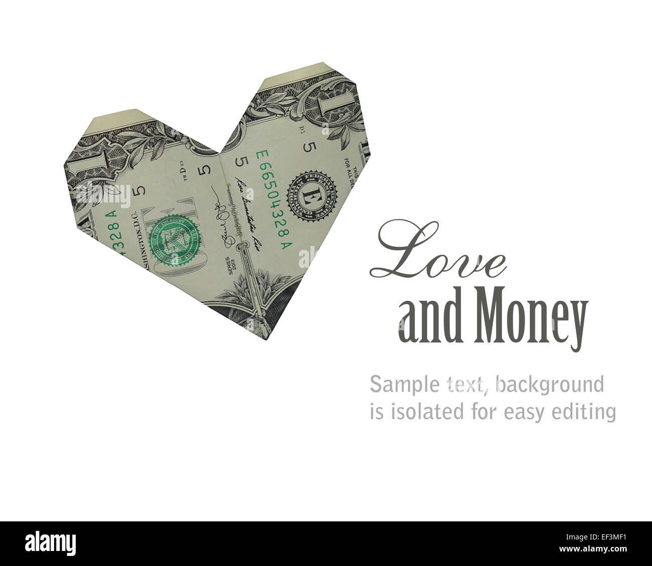 Concept image love and money us dollar bill folded into an concept image love and money us dollar bill folded into an origami heart shape isolated on white jeuxipadfo Images