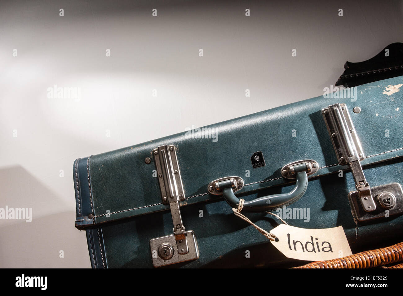 Vintage suitcase with India luggage tag Stock Photo, Royalty Free ...