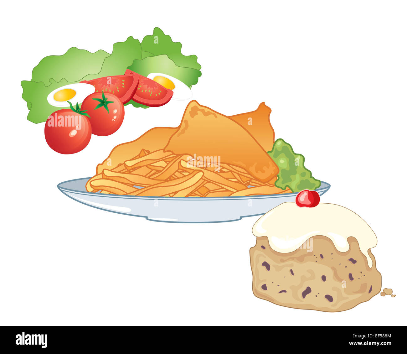 An illustration of a fast food meal including salad fish for Fast food fish