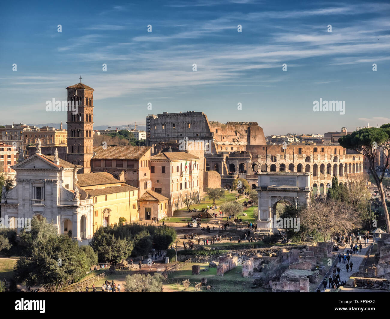 Complete view of the Forum Romanum (Roman Forum) from Palatine ...