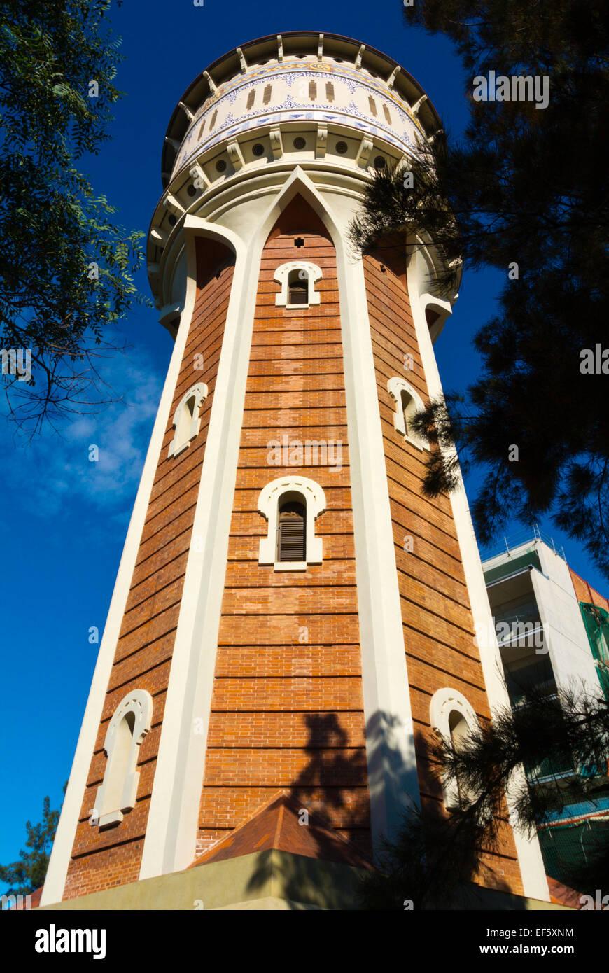 torre de les aigues 1905 modernista style architecture parc de la stock photo royalty free. Black Bedroom Furniture Sets. Home Design Ideas