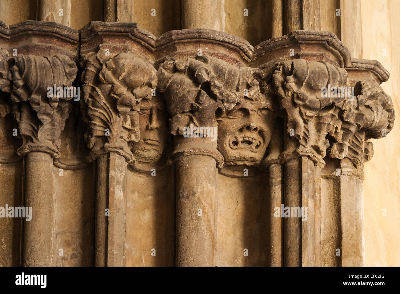 Architectural Detail Of Columns And Grotesque Faces At St James Gothic Church Contains Tallest Wooden Altar Levoca Slovakia