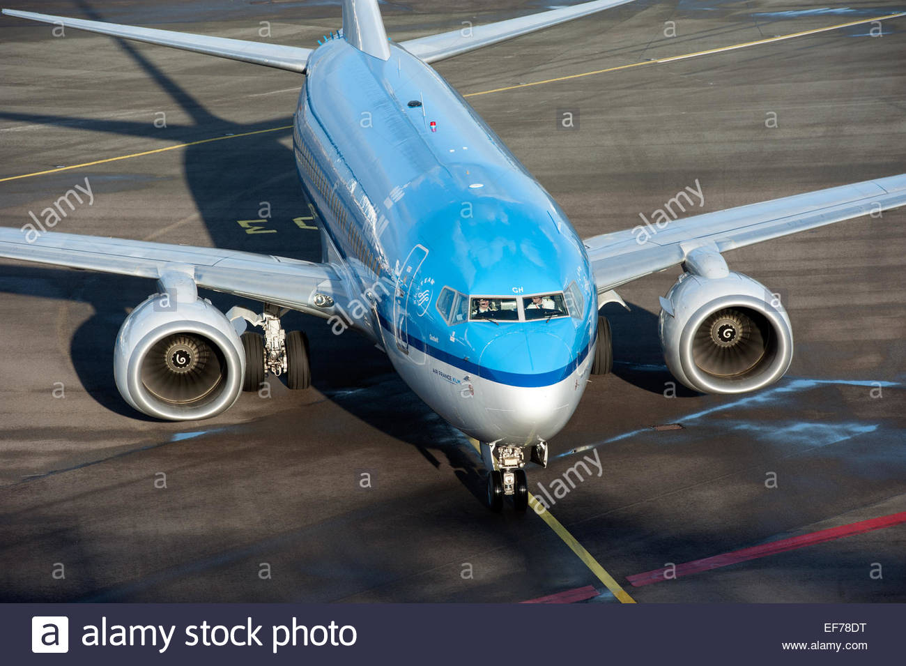Amsterdam Schiphol Klm Boeing 737 Taxiing To Its Gate