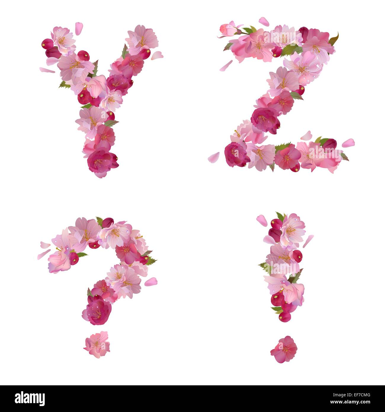 Vector spring alphabet with gentle pink sakura flowers letters yz stock vector vector spring alphabet with gentle pink sakura flowers letters yz and punctuation marks dhlflorist Images