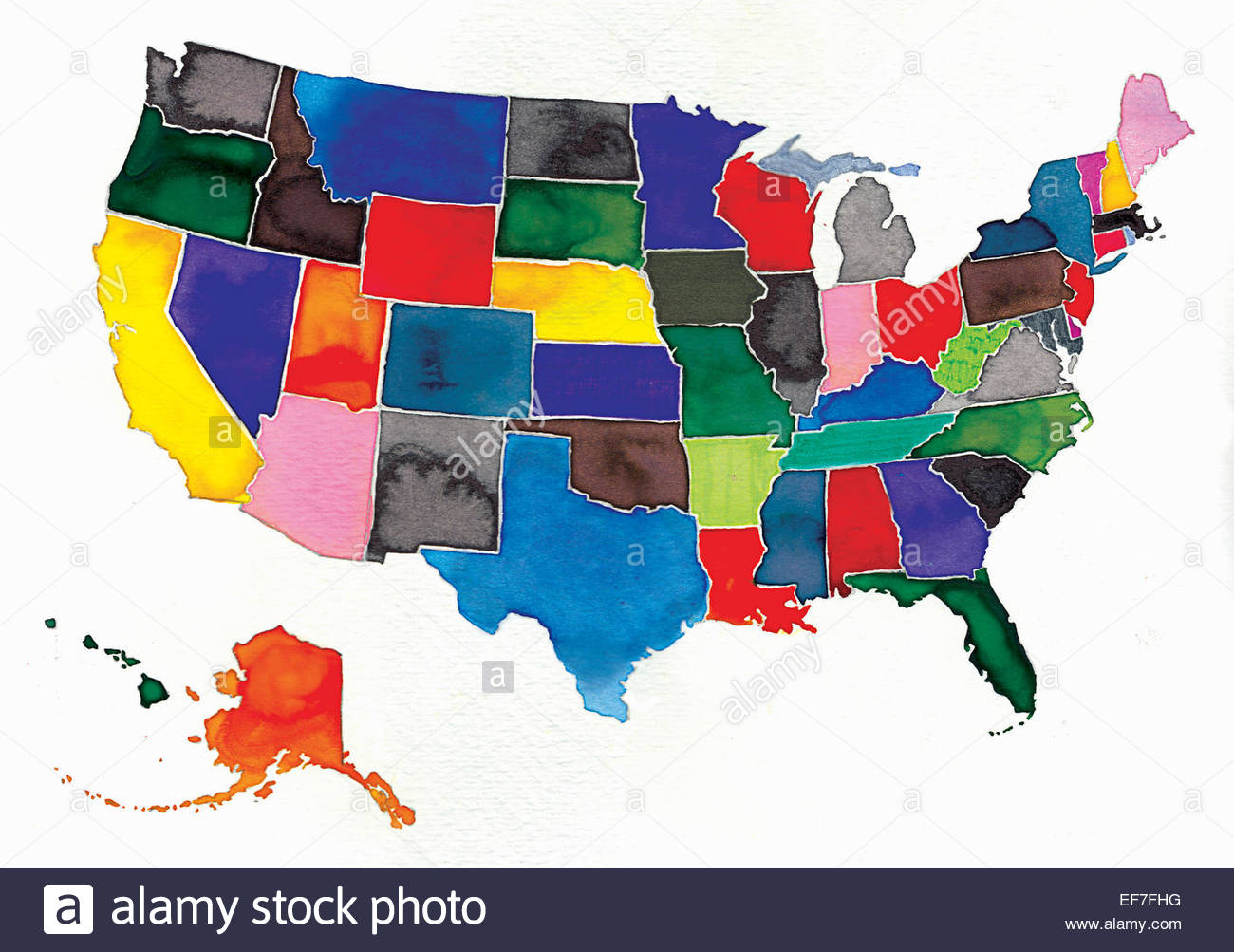 Watercolor Map Of United States And Alaska Stock Photo Royalty - Watercolor us map