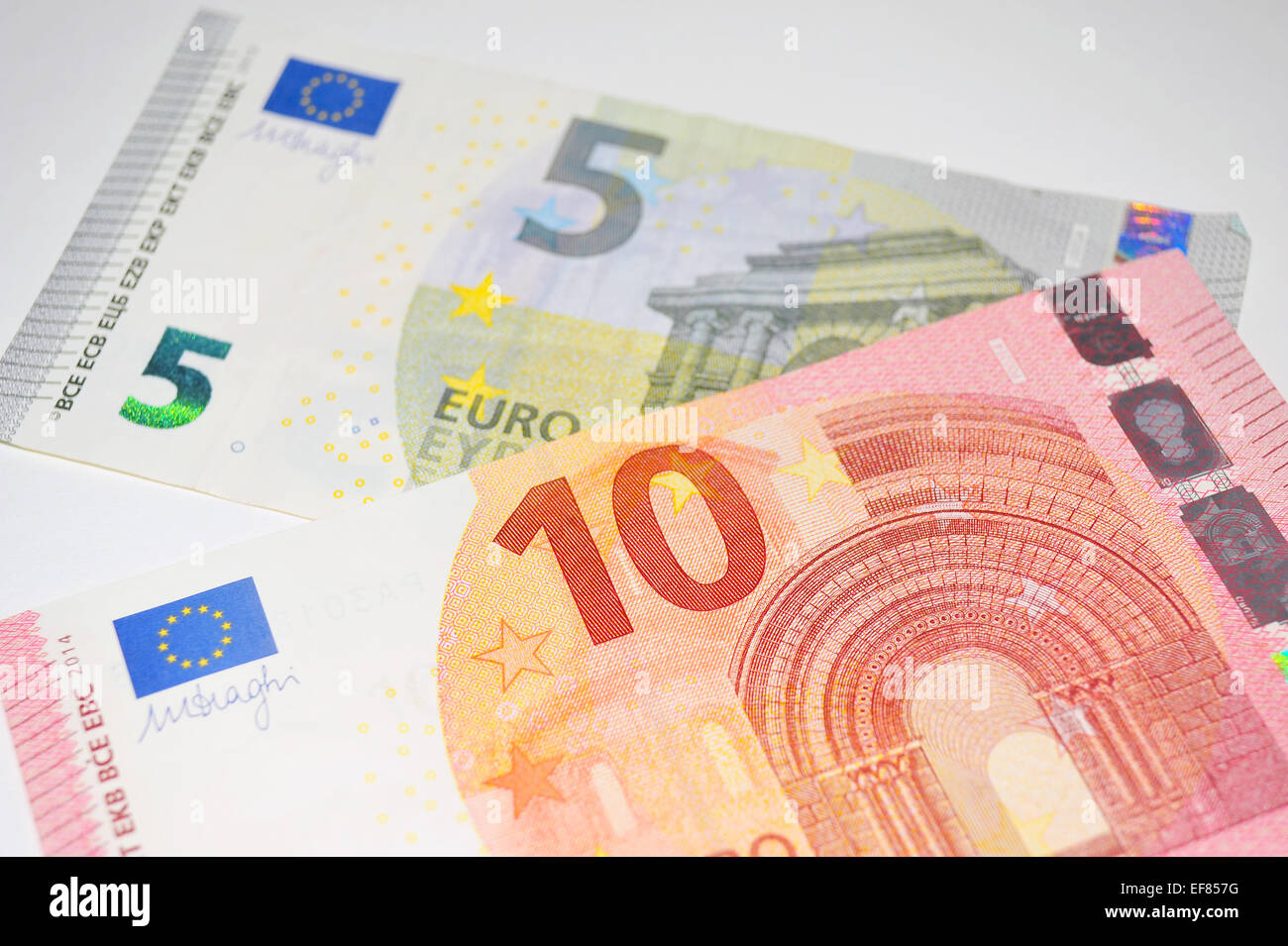 european 5 euro and 10 euro currency notes photographed against a stock photo royalty free. Black Bedroom Furniture Sets. Home Design Ideas