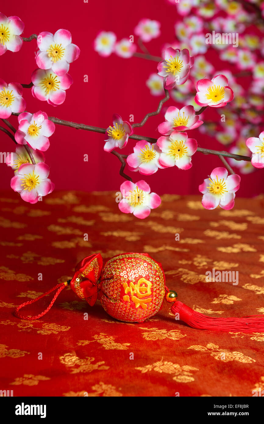 Stock Photo   Chinese New Year Decorations On Cherry Blossom Tree