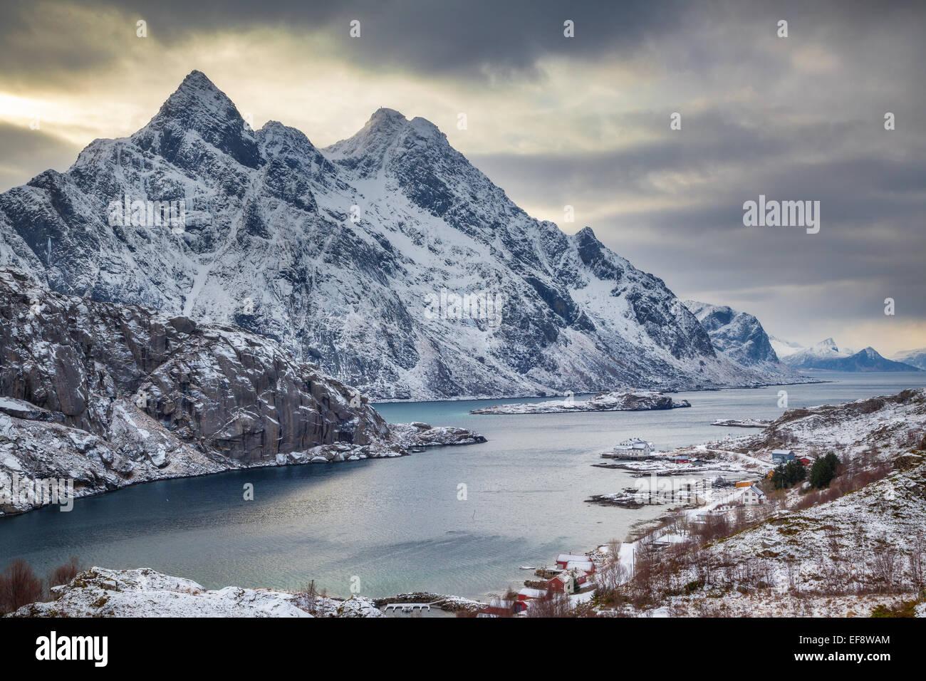 Norway lofoten storm over fjord in vestvagoy stock photo for Fjord agency