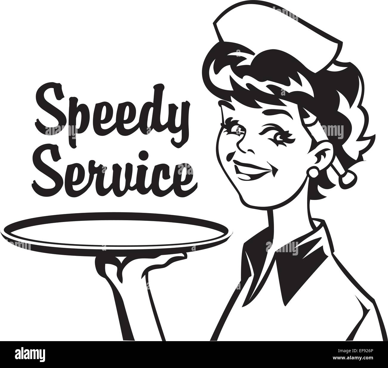 A waitress holding a tray with the words Speedy Service ...