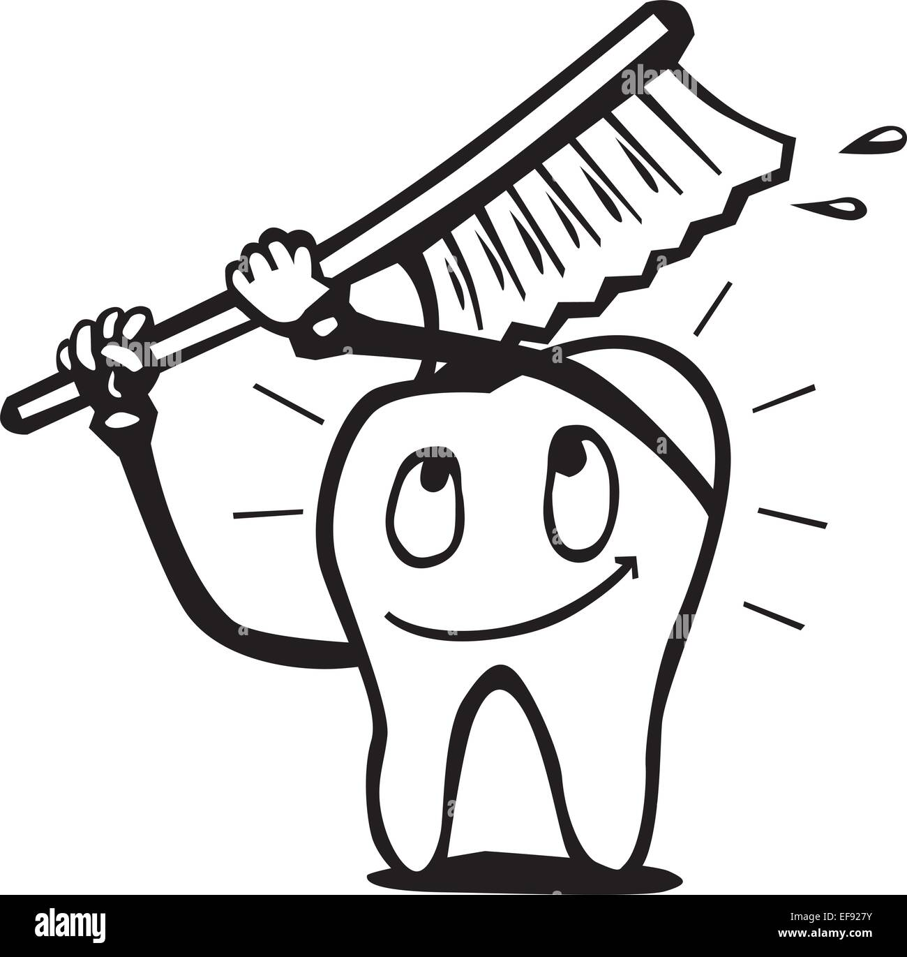 a tooth with a smiley face brushing with a toothbrush stock vector