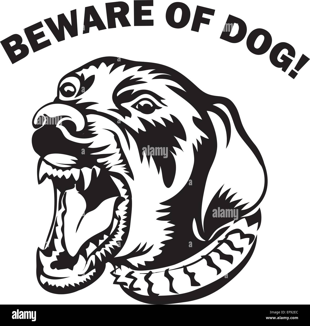 dog s face that above reads beware of dog stock vector art