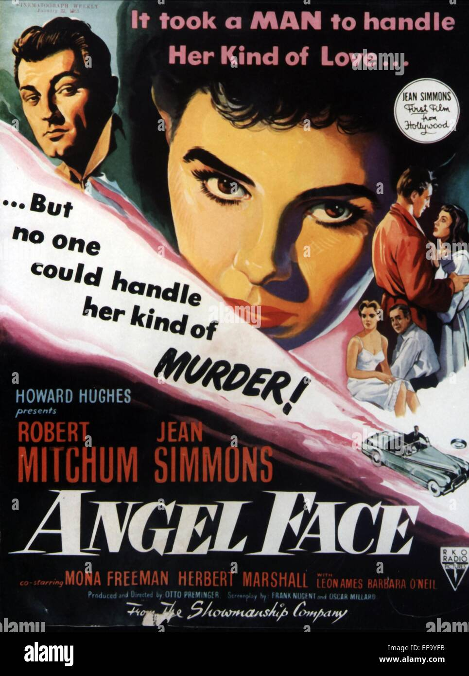 movie poster angel face 1952 stock photo royalty free