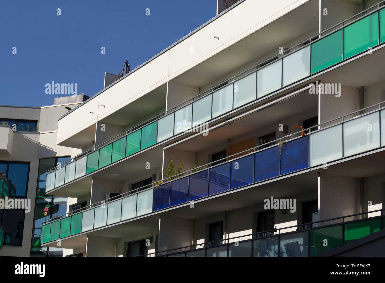 Modern Architecture Europe block of flats with balconies, modern architecture in the bauhaus