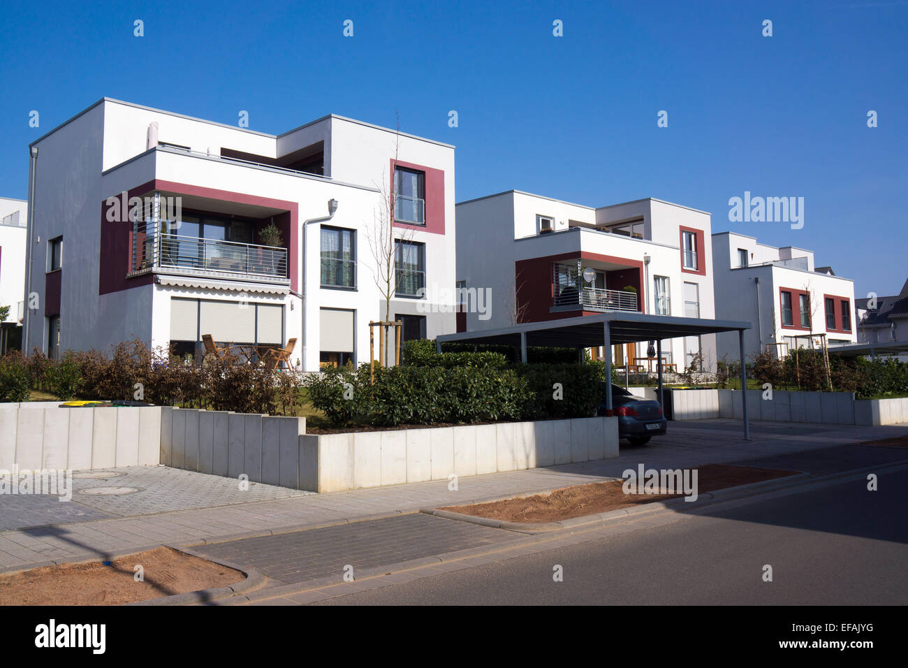 terraced house modern architecture in the bauhaus style riedenberg stock photo royalty free. Black Bedroom Furniture Sets. Home Design Ideas