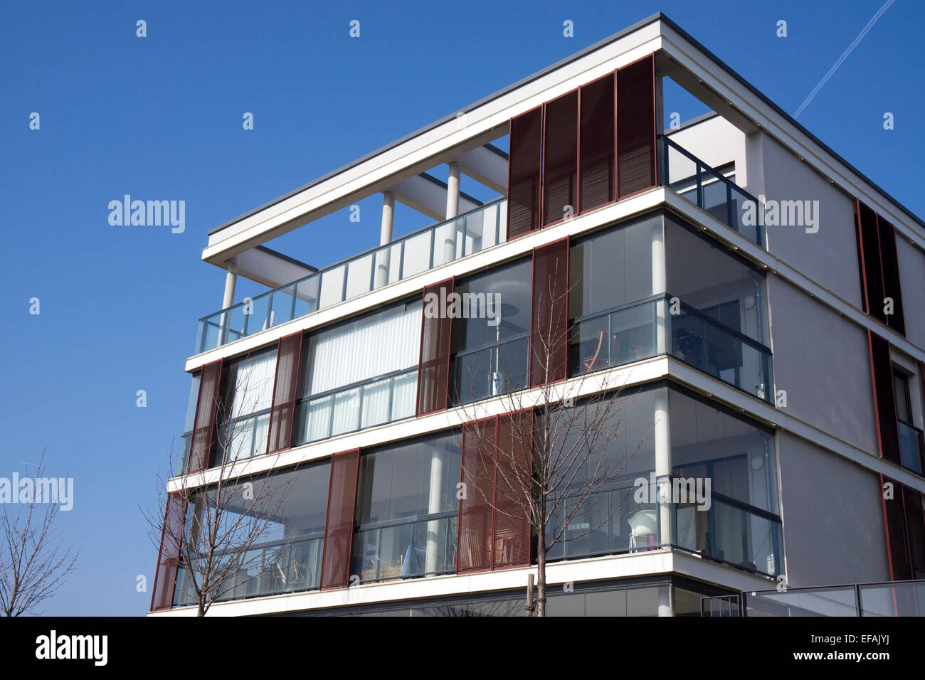 Modern Architecture Europe multi-family house, modern architecture in the bauhaus style stock