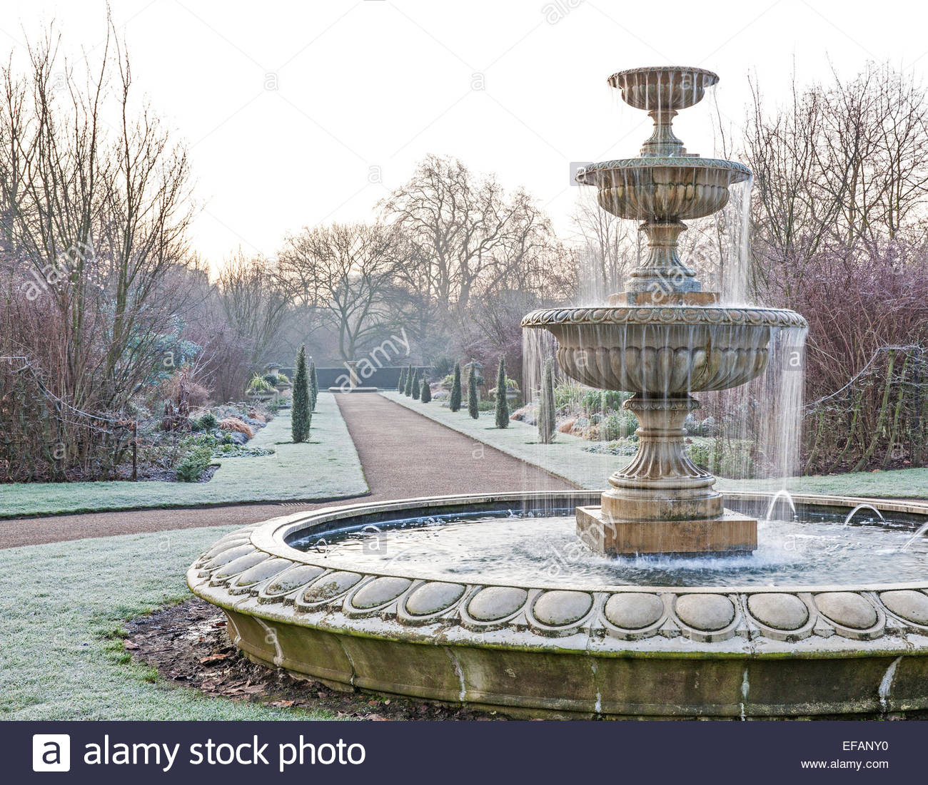 frosty winter morning in regent u0027s park london tiered fountains