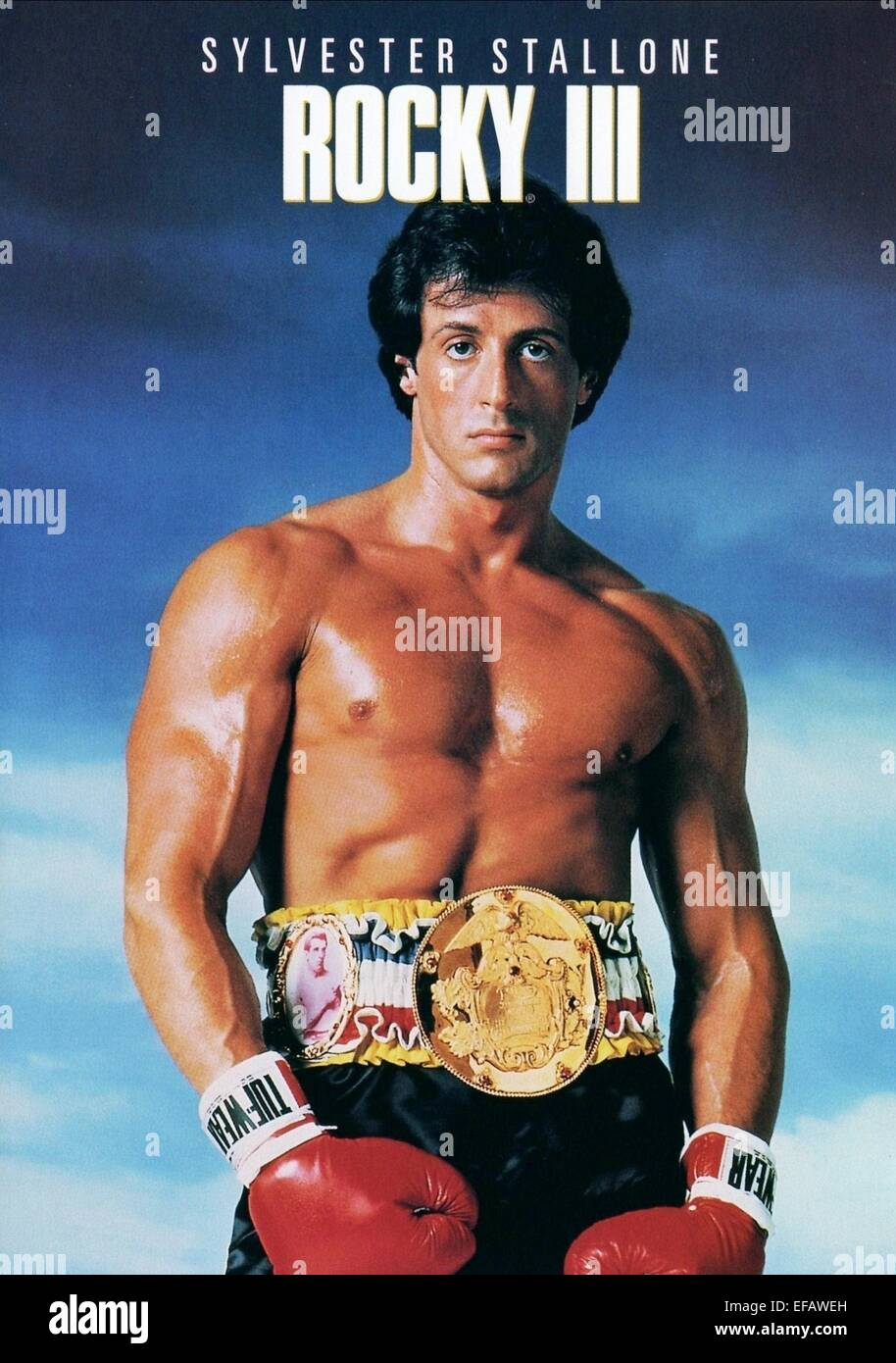 sylvester stallone poster rocky iii 1982 stock photo. Black Bedroom Furniture Sets. Home Design Ideas