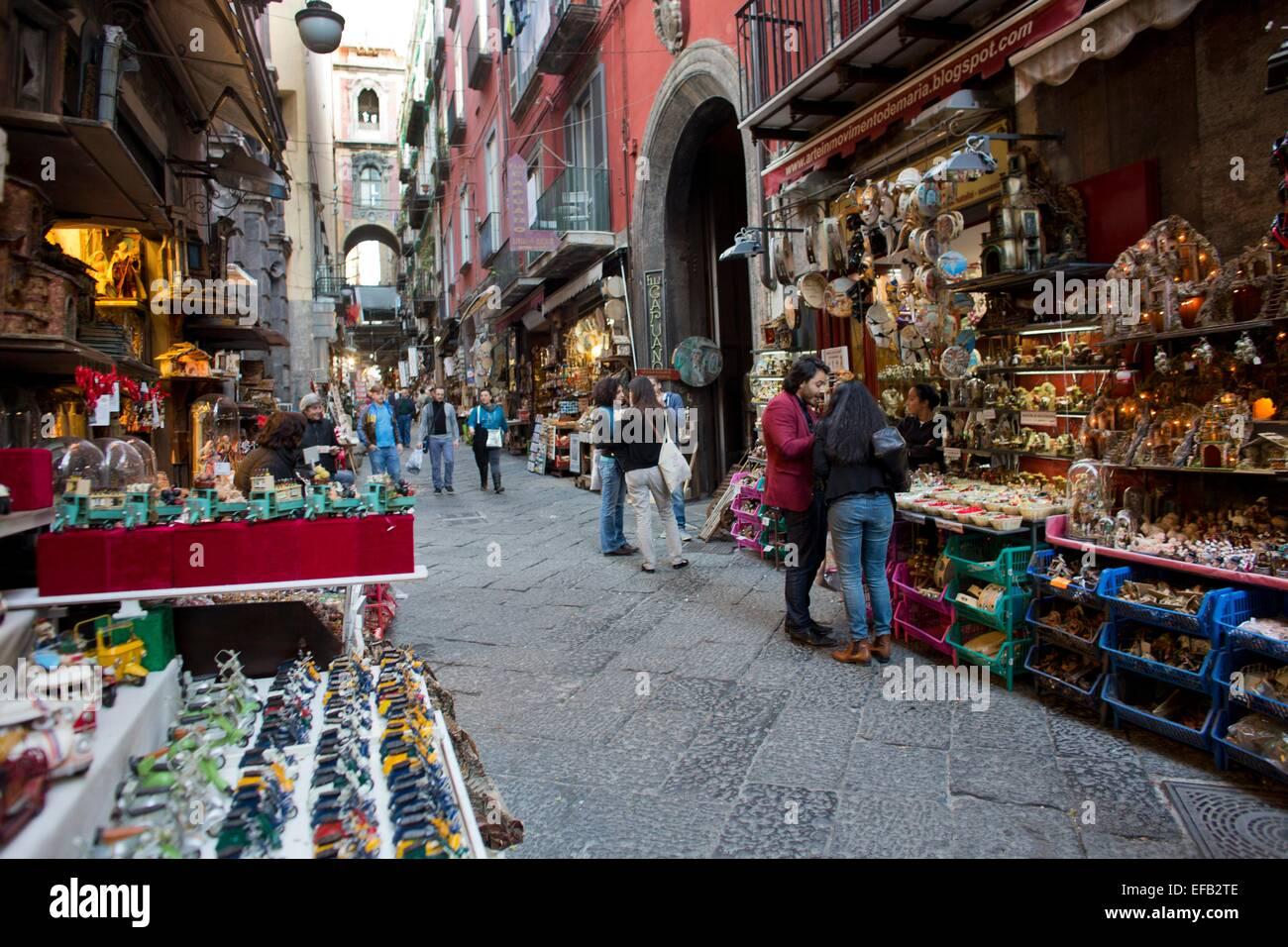 Souvenir shops in presepi street in naples stock photo for Craft stores naples fl