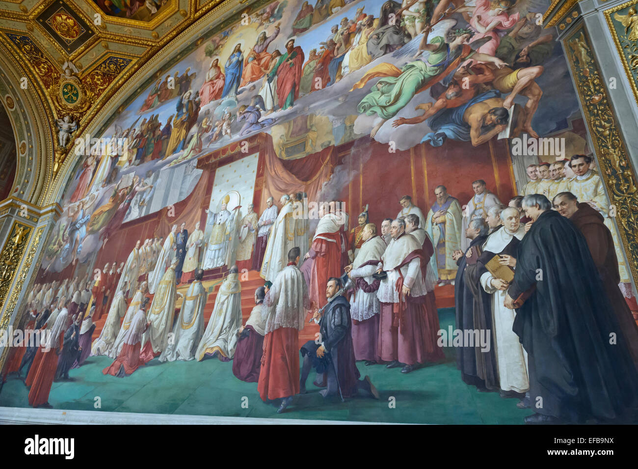 A huge colourful religious mural on the wall in vatican for Christian mural