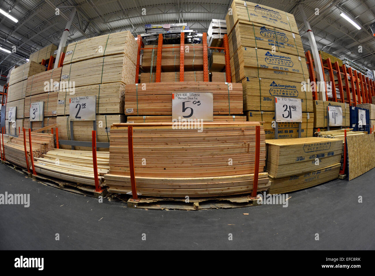A fisheye lens view of lumber for sale at home depot in for Wood decking boards for sale