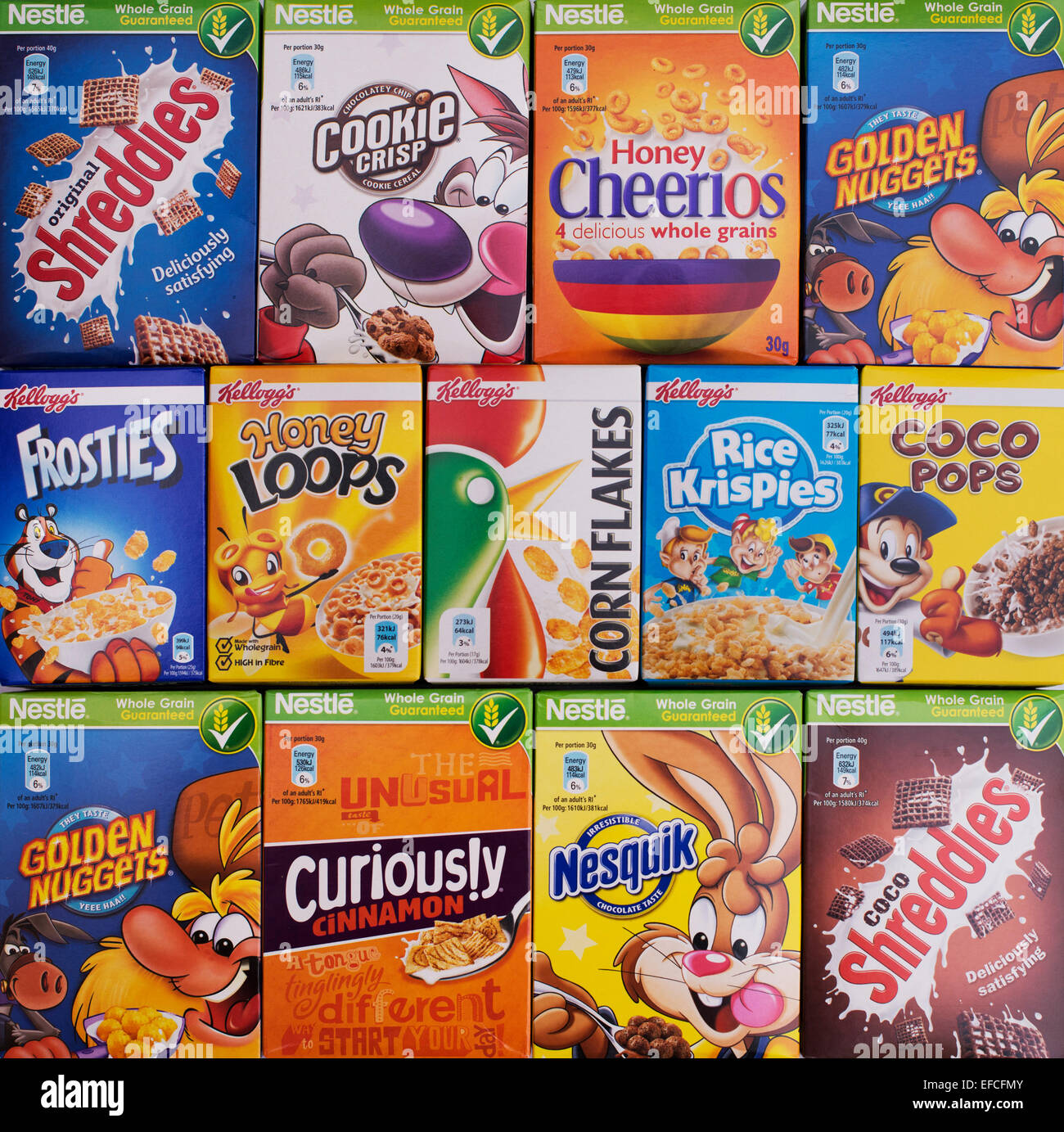 Assorted Childrens Breakfast Cereal Packets Pattern Stock