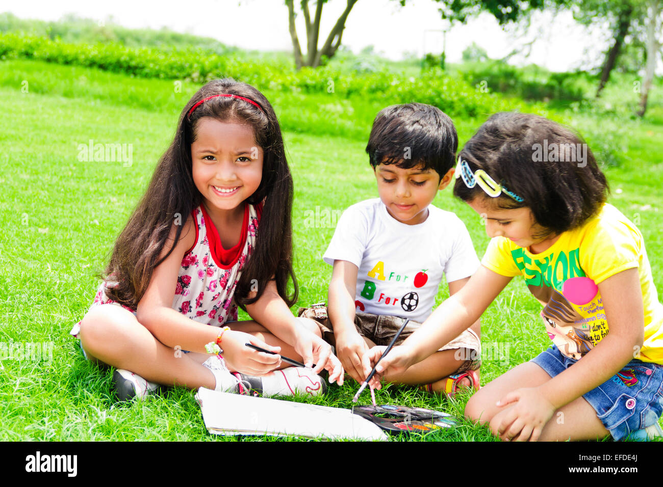 3 indian children Students park Drawing Stock Photo ...