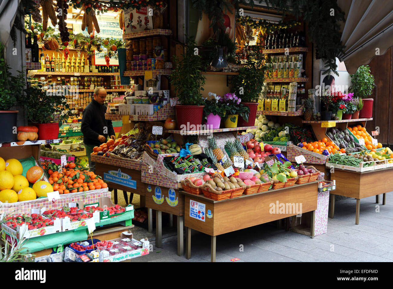 A grocery store in central milan italy the shop sells for Milan food market
