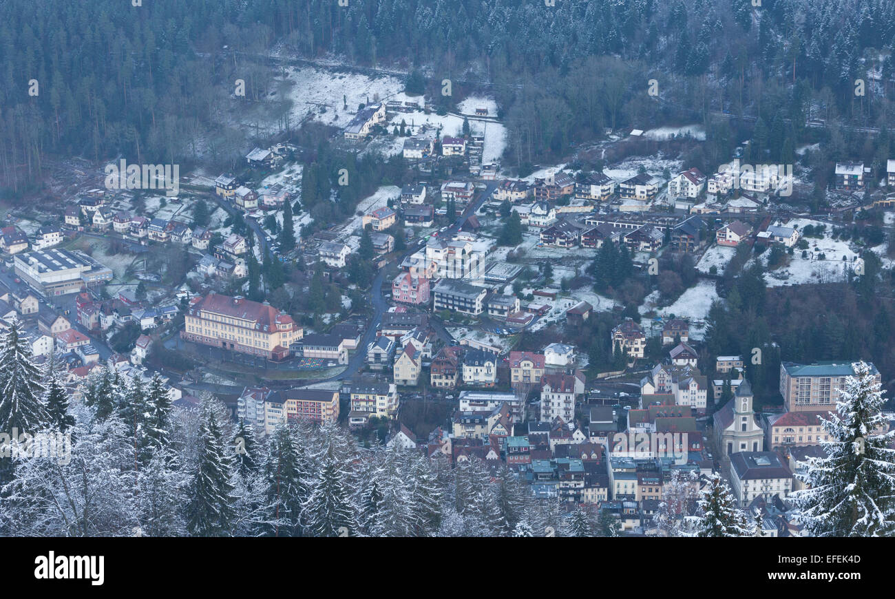 Black forest covered in snow, bad wildbad, spa town, view from ...