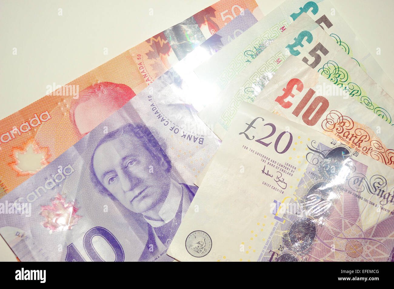 British Pound Notes Canadian Dollar European Euro Photographed White Background