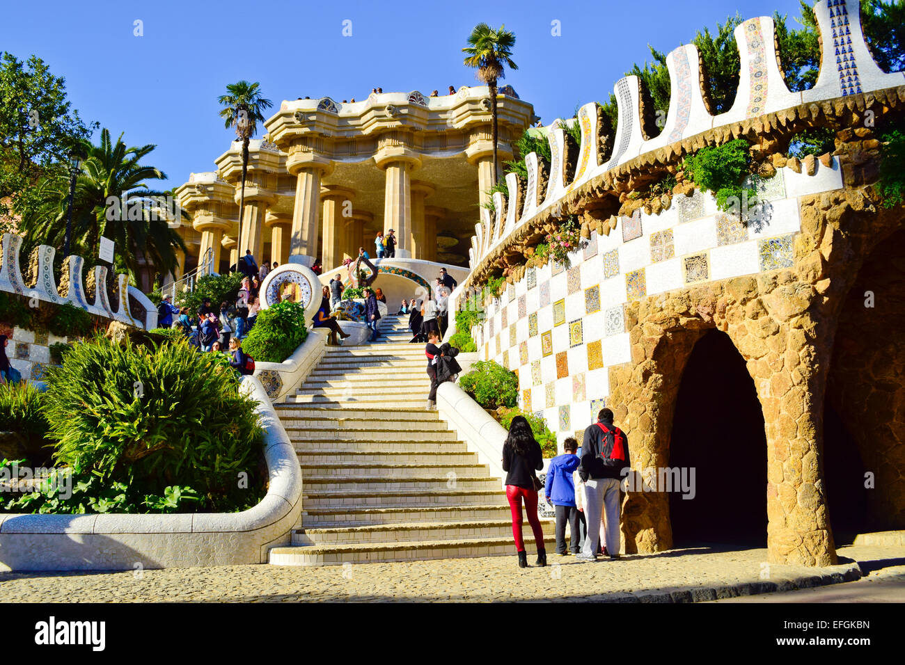 The Dragon Stairway Park Guell By Antoni Gaudi Architect