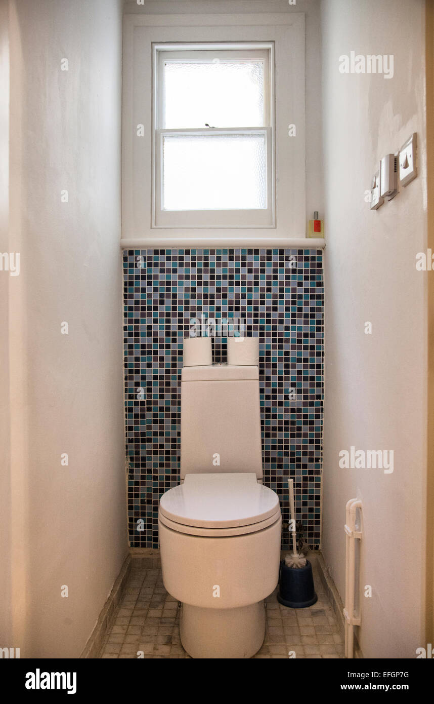 Small Toilet With Mosaic Tiles Stock Photo 78430004 Alamy