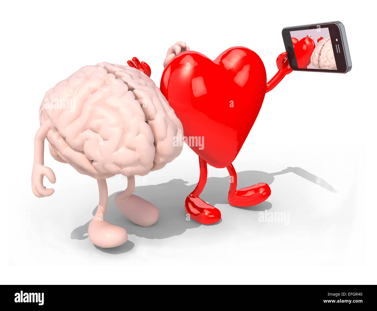 human brain and heart with arms and legs take a self portrait with ... for Smart Cartoon Brain  153tgx