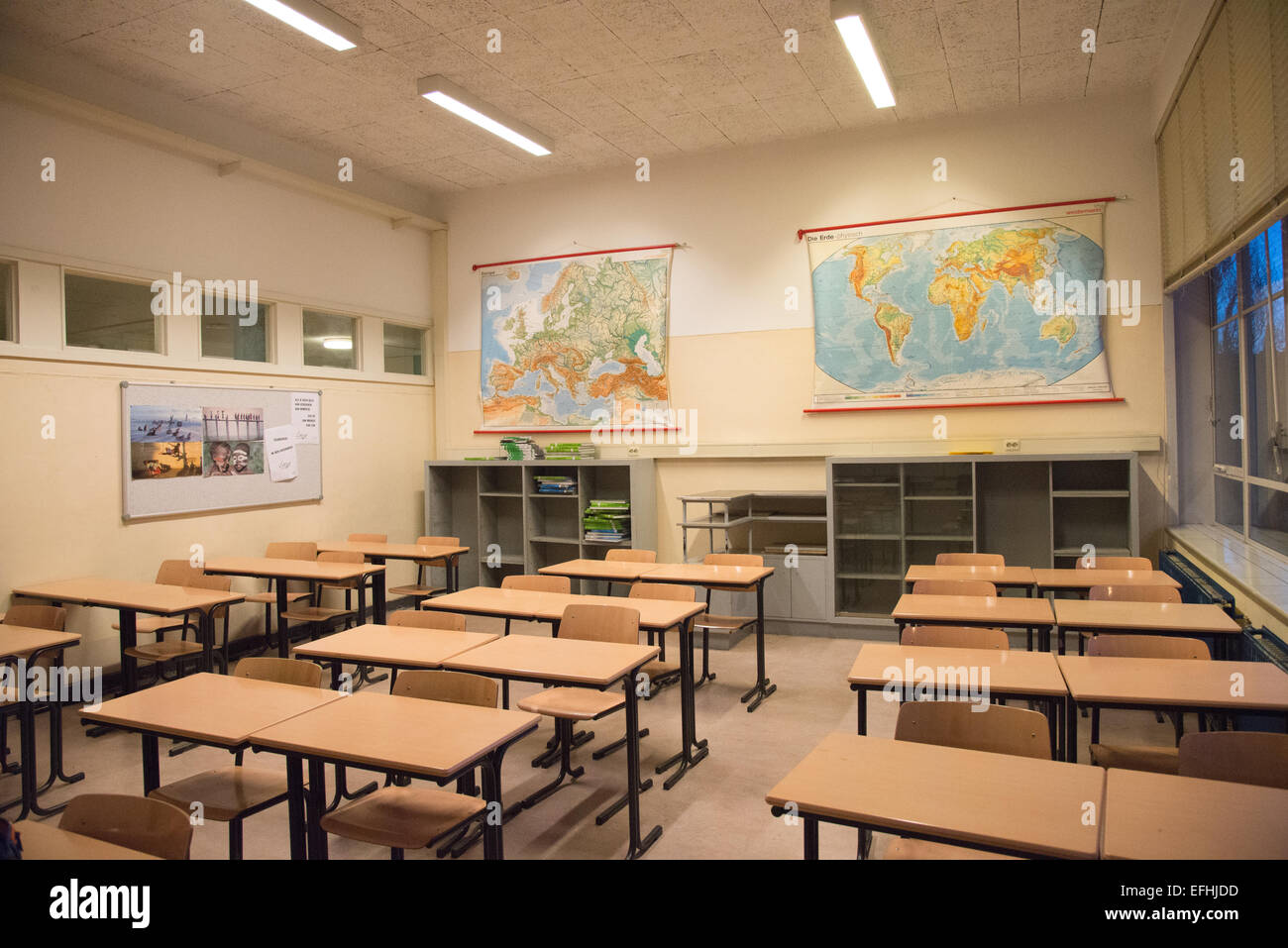 Empty Geography Classroom At School In Holland Stock Photo