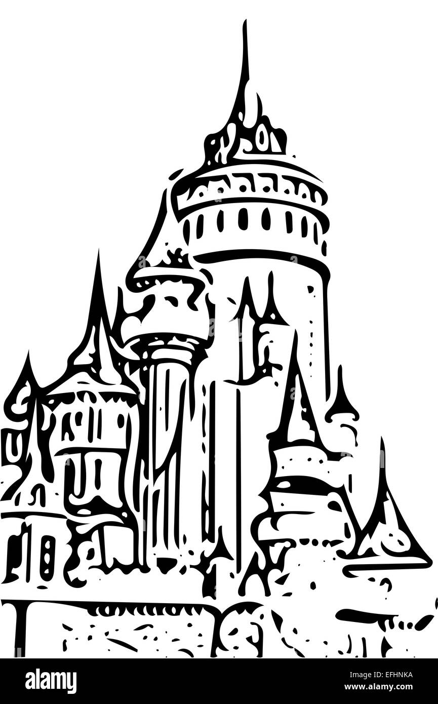 fairy tale castle drawing on white and black stock photo