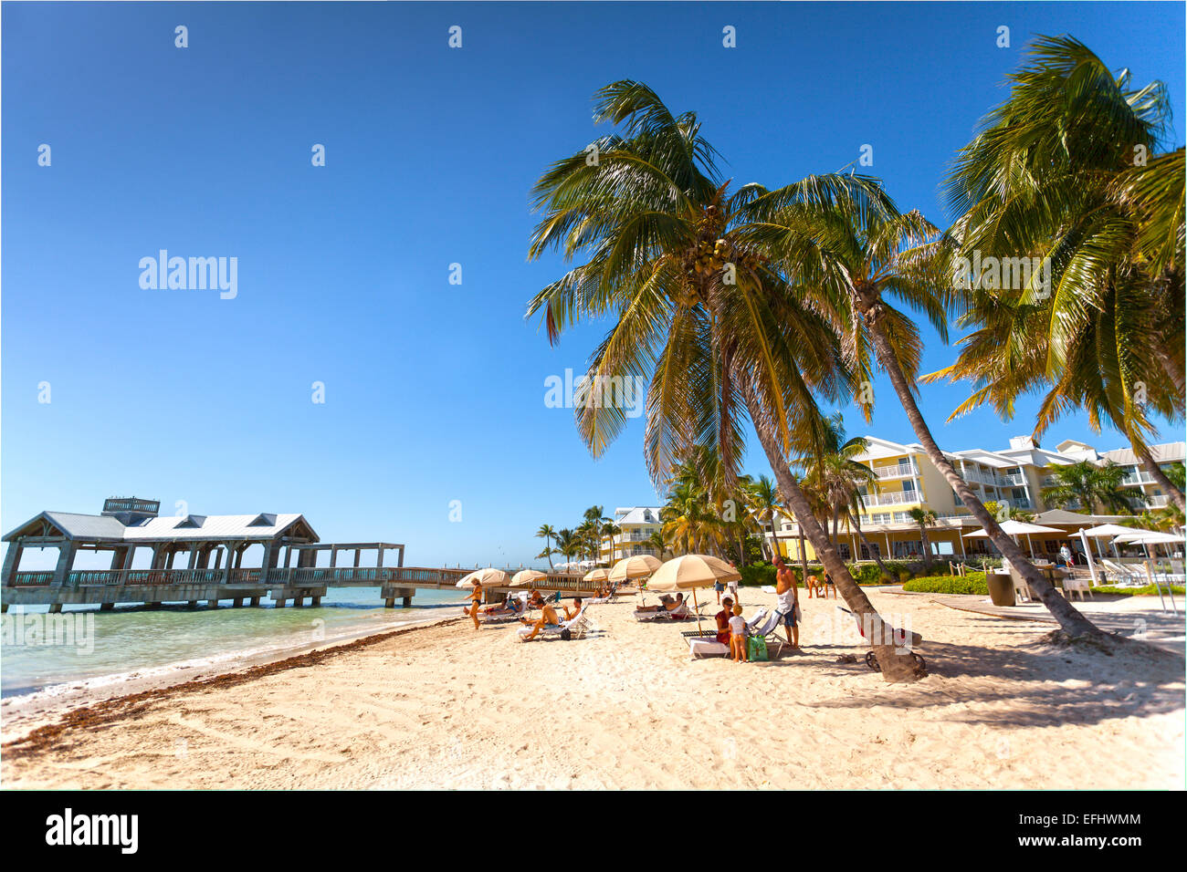 beach area at luxury hotel reach resort, key west, florida keys