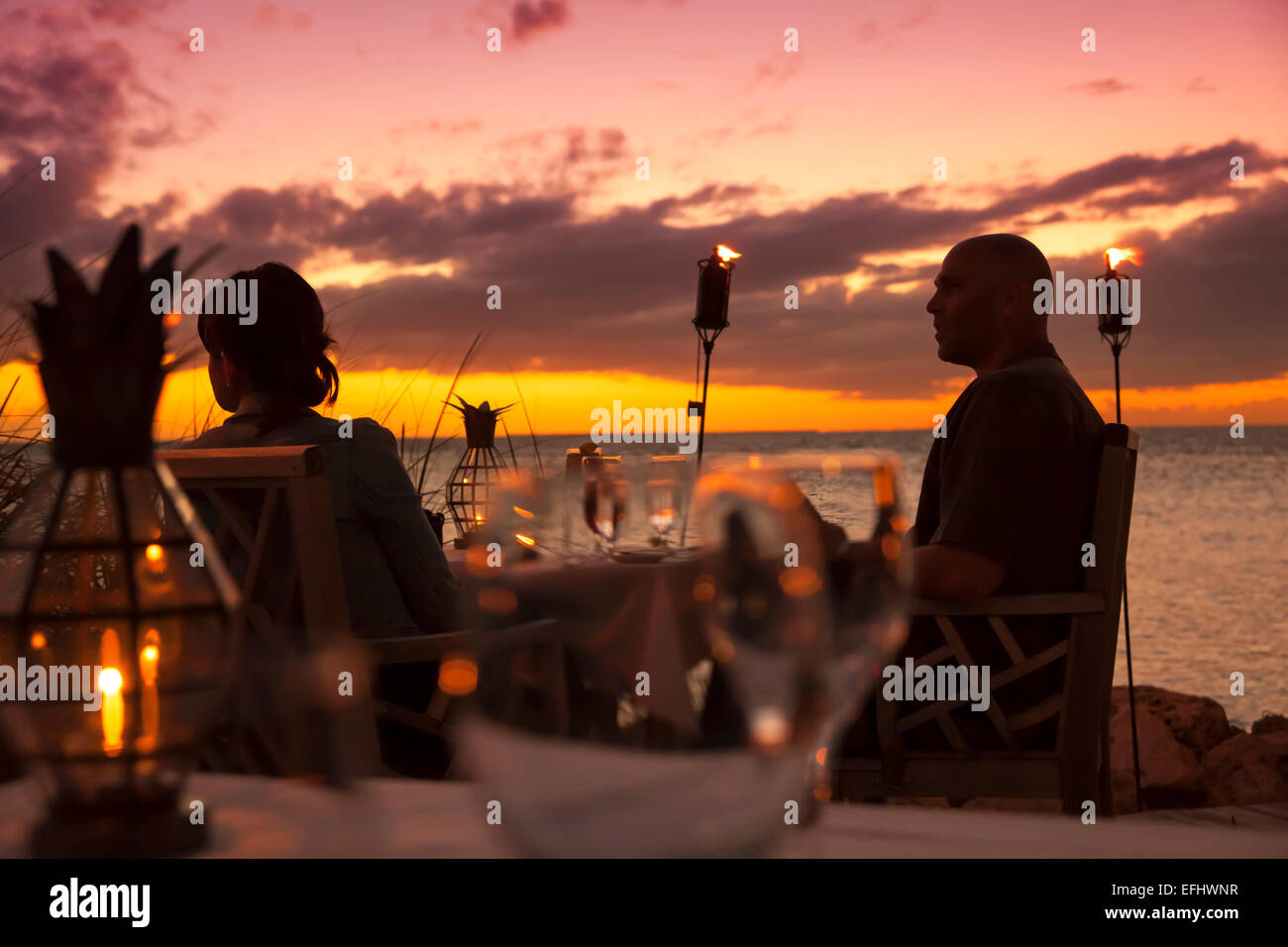 restaurant dining room at sunset, little palm island resort